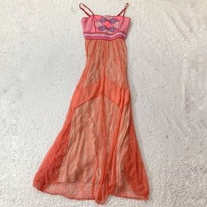 Strawberry & champagne Anthropologie maxi dress